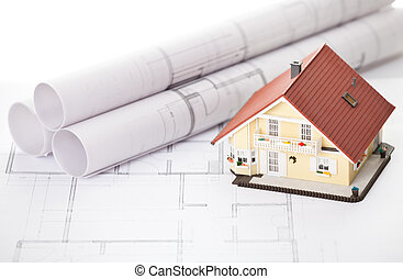 New model house on architecture blueprint plan - Image of...