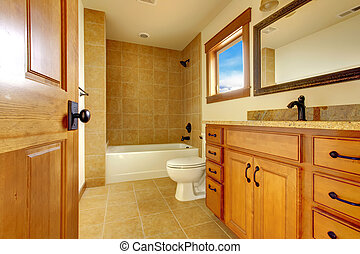 New modern beautiful bathroom in luxury home interior.
