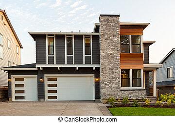 New Modern Home in Suburban North America Neighborhood