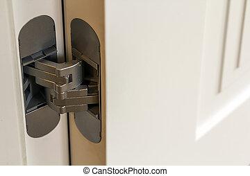 New modern metal door hinges on white wooden doors