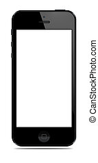 New Modern Smart Phone with blank screen isolated on white....