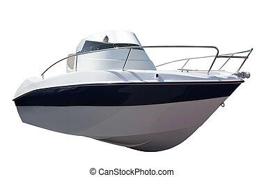 New motor speedboat over white - New motor speedboat. ...