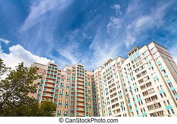 new municipal house under blue sky at summer