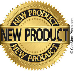 New new product golden label, vector illustration