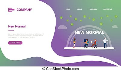 new normal in office situation with social distancing for website template or landing homepage banner