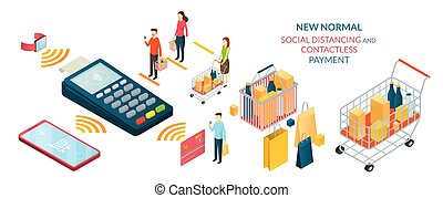 New Normal, People in Social Distancing and Contactless ...