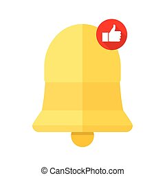 New Notification Icon, bell with a thumb up hand, isolated on white background