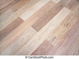 New oak parquet of brown color