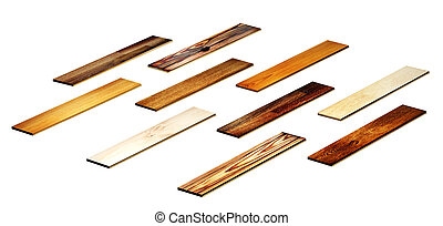 New oak parquet of different colors. Isolated on white...
