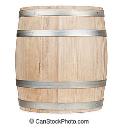 New oak wooden barrel, isolated on white background