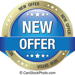 new offer blue gold button