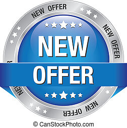 new offer blue silver button