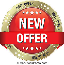 new offer red gold button isolated background