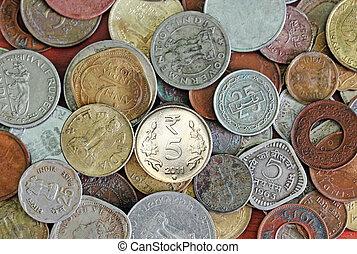 New, old and vintage indian coins background - Old, vintage...