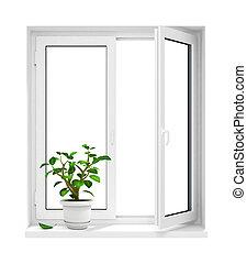 new open plastic window with flowerpot on windowsill - 3d-illustration, isolated on white