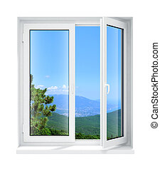 new opened plastic glass window frame isolated