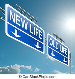 New or old life. - Illustration depicting a highway gantry...