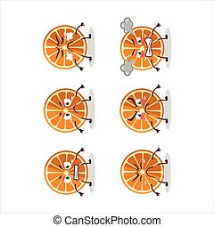 New orange cartoon character with various angry expressions