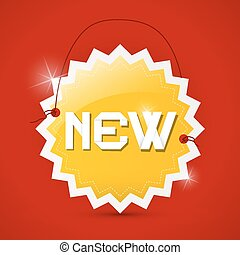 New Orange Paper Vector Label on Red Background