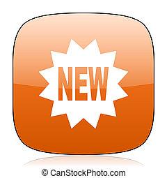 new orange square web design glossy icon