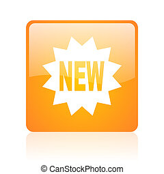new orange square web glossy icon