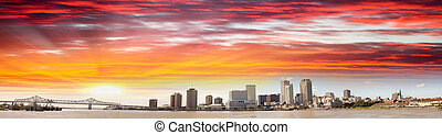 New Orleans at dusk, panoramic view - Louisiana.