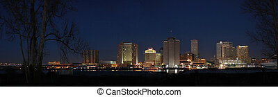 New Orleans at Night - Panorama of New Orleans Skyline at...