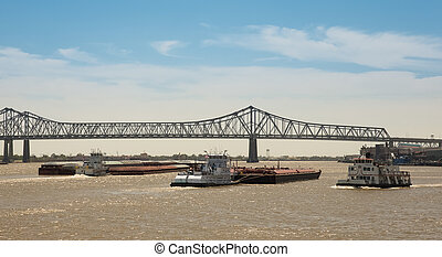 New Orleans - Barge Traffic on Mississippi River