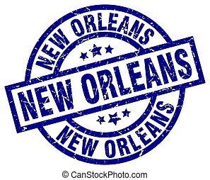 New Orleans blue round grunge stamp