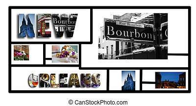 New Orleans collage on white