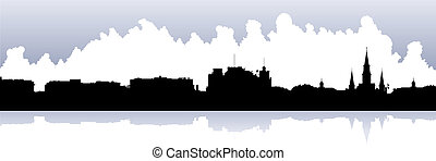 Skyline silhouette of the French Quarter in New Orleans, Louisiana, USA.