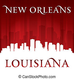 New Orleans Louisiana city skyline silhouette red background...