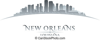 New Orleans Louisiana city skyline silhouette white...