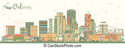 New Orleans Louisiana City Skyline with Color Buildings.