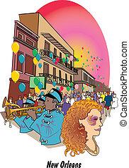 New Orleans Louisiana Mardi Gras - Mardi Gras celebration on...