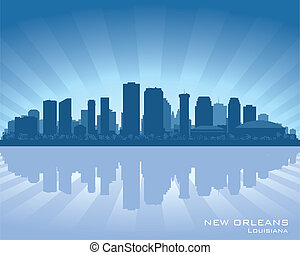 New Orleans, Louisiana skyline illustration with reflection in water