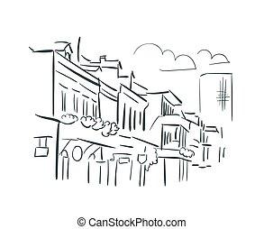 New Orleans Louisiana usa America vector sketch city illustration line art