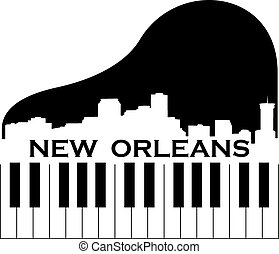 City of New Orleans high rise skyline with piano