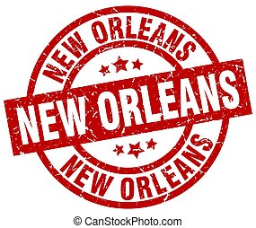 New Orleans red round grunge stamp