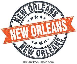 New Orleans red round grunge vintage ribbon stamp