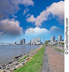 New Orleans. Sidewalk along Mississippi River