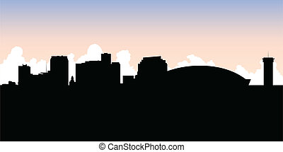 Illustration of the skyline of the city of new orleans ...