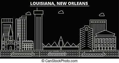 New Orleans silhouette skyline. USA - New Orleans vector city, american linear architecture, buildings. New Orleans travel illustration, outline landmarks. USA flat icons, american line banner
