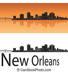 New Orleans skyline in orange background in editable vector...