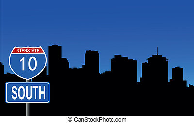 New Orleans skyline interstate sign