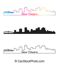 New Orleans skyline linear style with rainbow in editable...