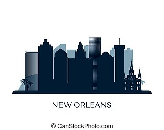 New Orleans skyline, monochrome silhouette.