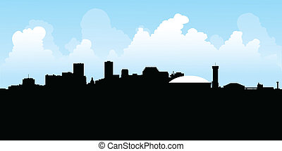 Skyline silhouette of the city of New Orleans, Louisiana, USA.