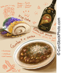 New Orleans, southern food illustration - My illustration...