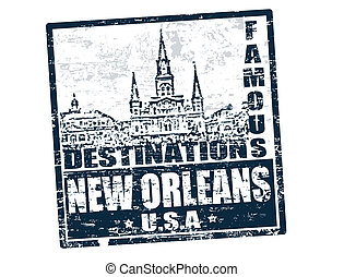 New Orleans stamp - Grunge rubber stamp with the text famous...